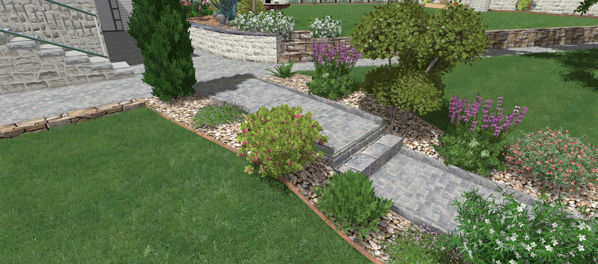 Colver créateur jardin paysagiste oise noyon compiègne plan rénovation dessin étude paysagère escalier allée