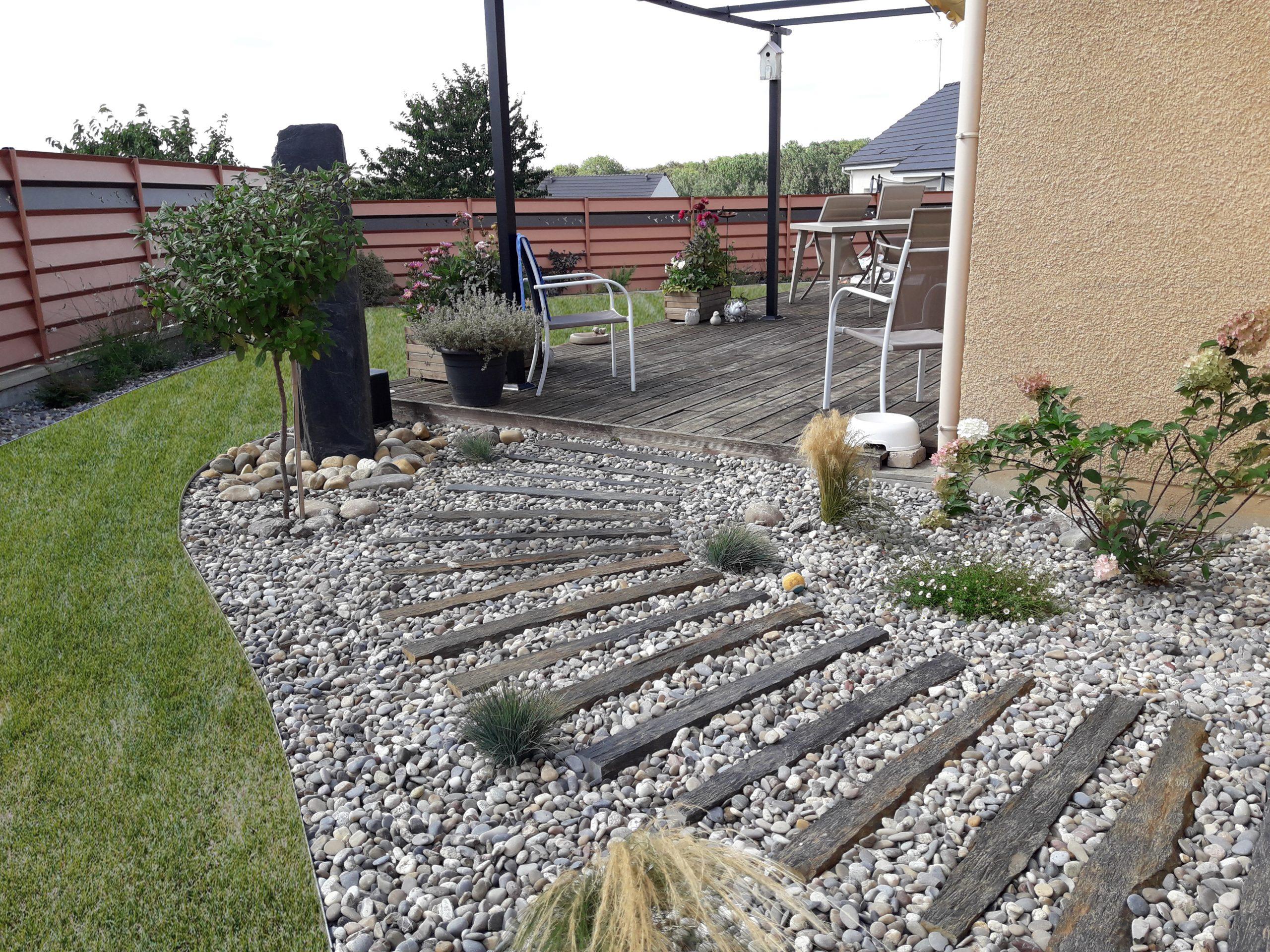Colver créateur jardin paysagiste oise noyon compiègne aménagement allée cailloux pas japonais